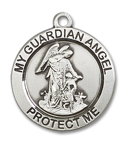 """Guardian Angel Medal - Sterling Silver 3/4"""" x 3/4"""" Round Pendant (4053SS)"""