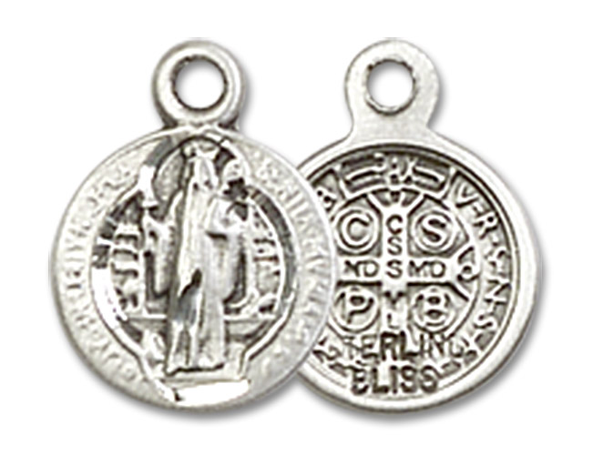 St. Benedict Medal Charm - Sterling Silver Round Pendant (2341SS)