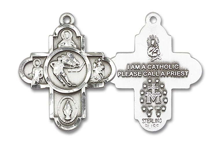 """5-Way Ice Hockey Medal - Sterling Silver 1"""" x 1 5/8"""" Pendant (5744SS)"""