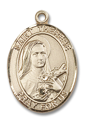 St. Therese Medal - 14kt Gold Oval Pendant (3 Sizes)