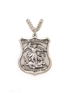 """St. Michael Policeman Necklace - Sterling Silver Medal On 24"""" Stainless Chain (SM0536SH)"""