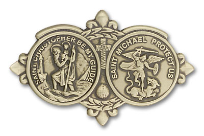 St. Christopher & St. Michael Visor Clip - Gold Finish (1034VG)